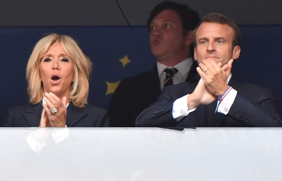 Le couple présidentiel assiste à la finale de la Coupe du monde, en Russie, le 15 juillet 2018