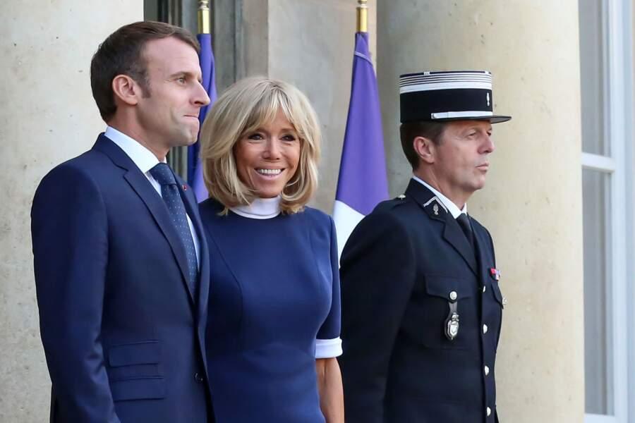 Emmanuel Macron et Brigitte Macron, un couple toujours très souriant et complice