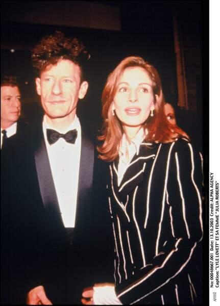 Avec son mari le chanteur country Lyle Lovett, au New York Film Festival en 1993. Le couple divorcera en 1995