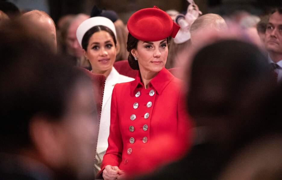 Meghan Markle et Kate Middleton à l'Abbaye de Westminster, à Londres, le 11 mars 2019.
