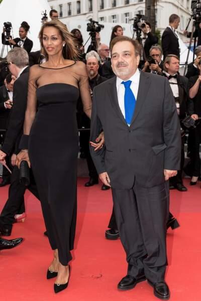 Didier Bourdon et sa compagne Marie-Sandra à la première du film d'Almodovar, à Cannes, le 17 mai 2019.