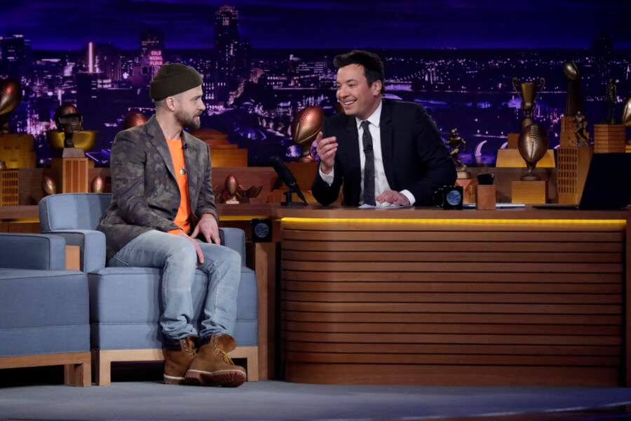 Justin Timberlake et Jimmy Fallon sur le plateau du Tonight Show en 2018
