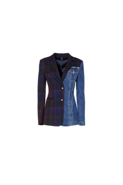 Veste patchwork en laine et denim, LIU JO, 355 €.