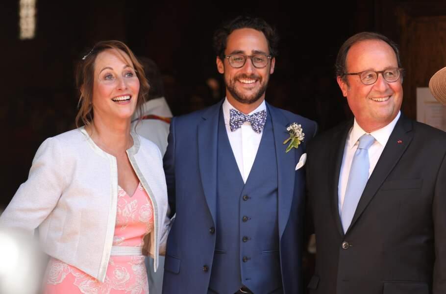 Thomas Hollande entouré de François Hollande et de Ségolène Royal lors de son mariage.