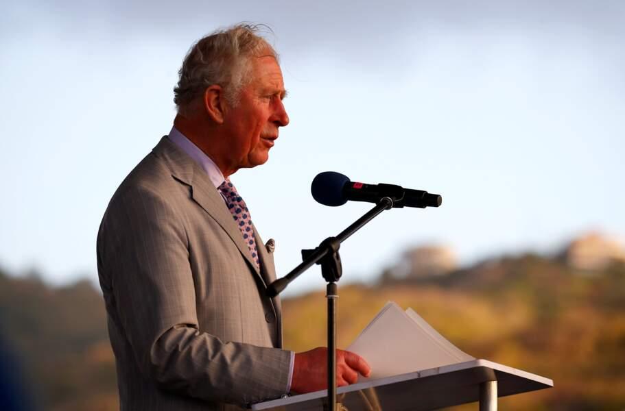Le prince Charles prononce un discours sur l'importance de la protection de l'environnement.