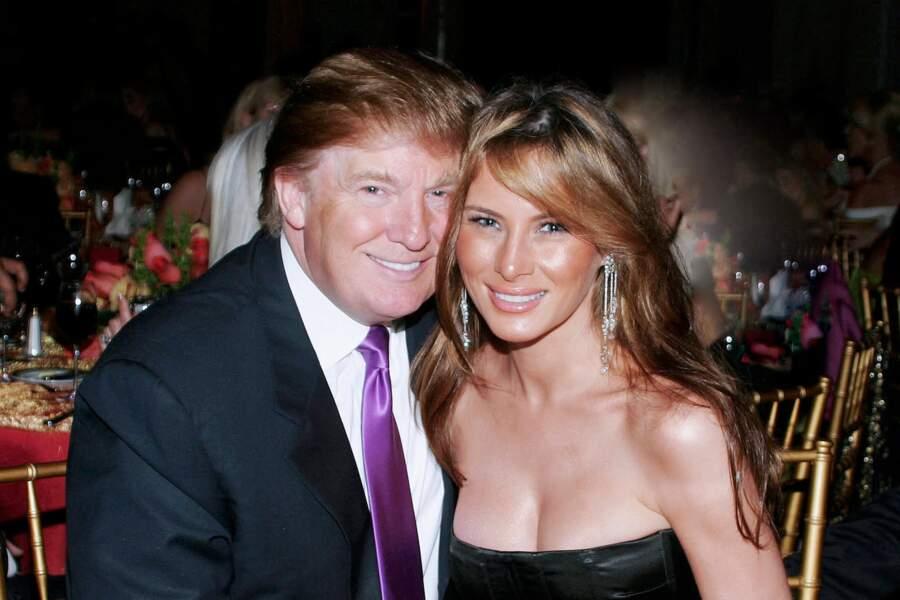 Melania et Donald Trump au club Mar A Lago à Palm Beach, le 25 février 2005