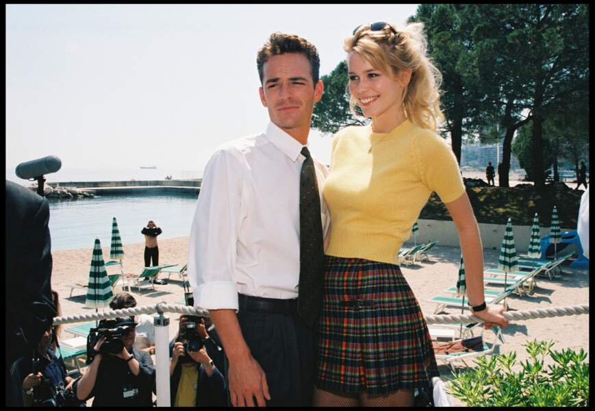 Luke Perry et Claudia Schiffer à la soirée des World Music Awards à Monaco en 1996
