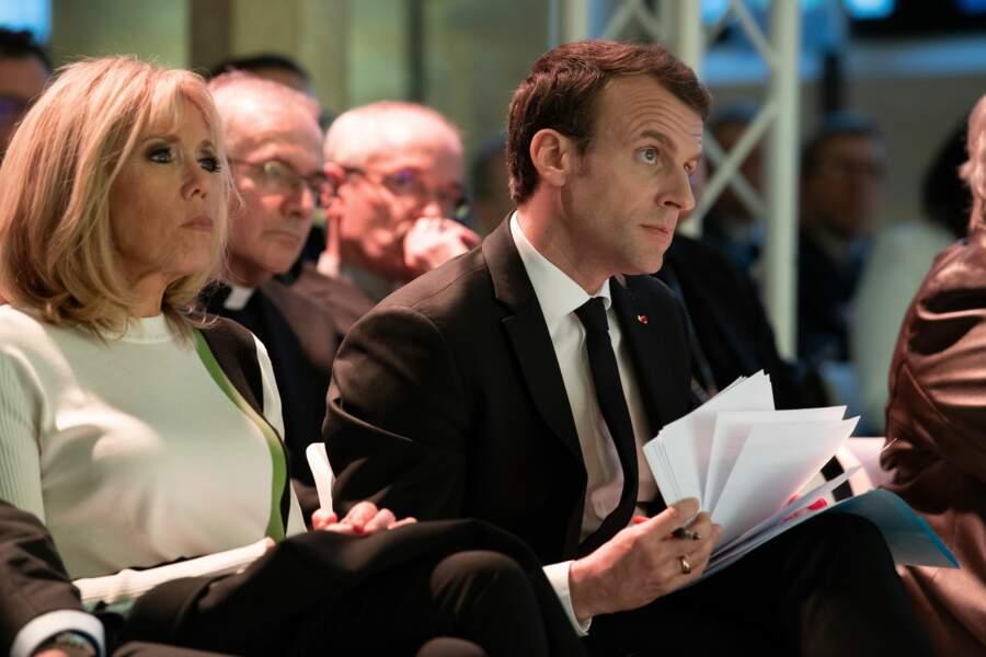 Brigitte et Emmanuel Macron au Collège des Bernardins, discours du président devant la Conférence des évêques