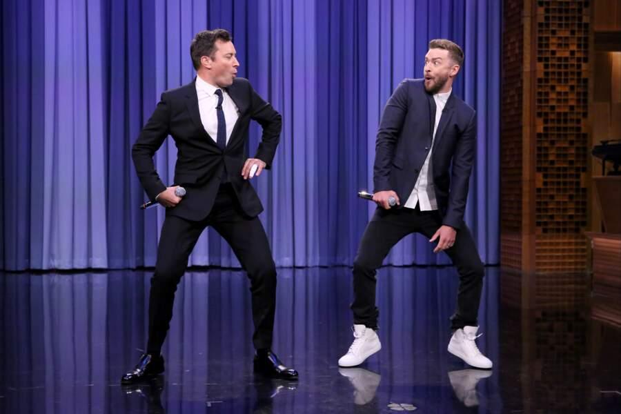 Jimmy Fallon sur le plateau du Tonight Show, avec son ami Justin Timberlake en 2015