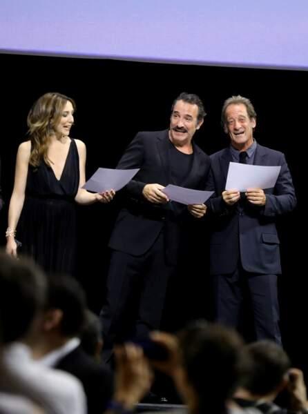 Elsa Zylberstein, Jean Dujardin et Vincent Lindon au Festival Lumière à Lyon le 13 octobre 2018