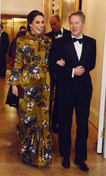 Kate Middleton et le Prince William assistent au dîner à l'ambassade britannique à Stockholm, le 30 janvier 2018