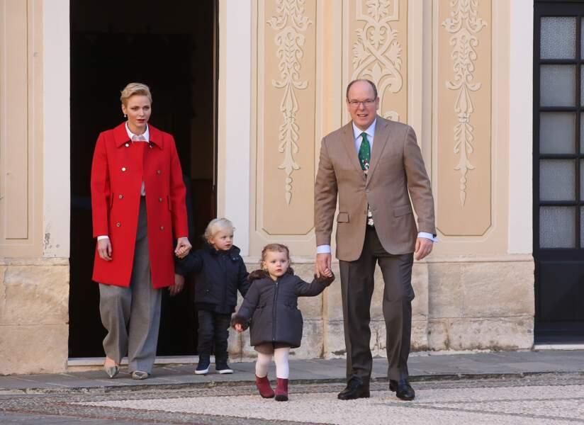 Albert et Charlène de Monaco avec Jacques et Gabriella au palais princier le 14 décembre 2016