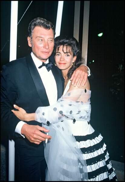 Johnny Hallyday et Adeline Blondieau au Festival de Cannes en 1990