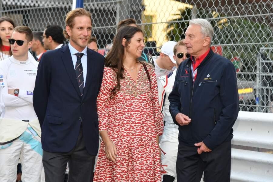 Andrea Casiraghi et sa femme Tatiana Santo Domingo sont apparus souriants et complices sur le circuit de Monaco