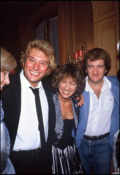Johnny Hallyday, Nathalie Baye et Eddy Mitchell en 1982