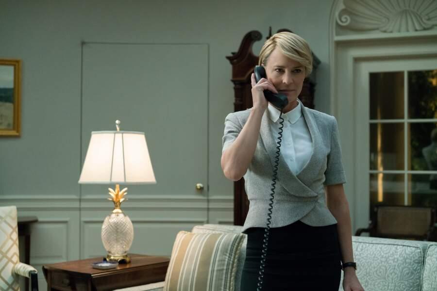 """Robin Wright dans le rôle de Claire Underwood, personnage féminin principal de la série """"House of Cards"""""""