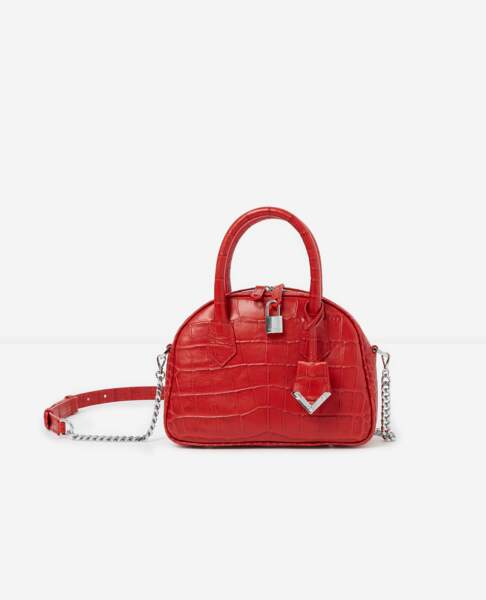 It-bag, mini sac croco rouge, 448 € (Irina by The Kooples).