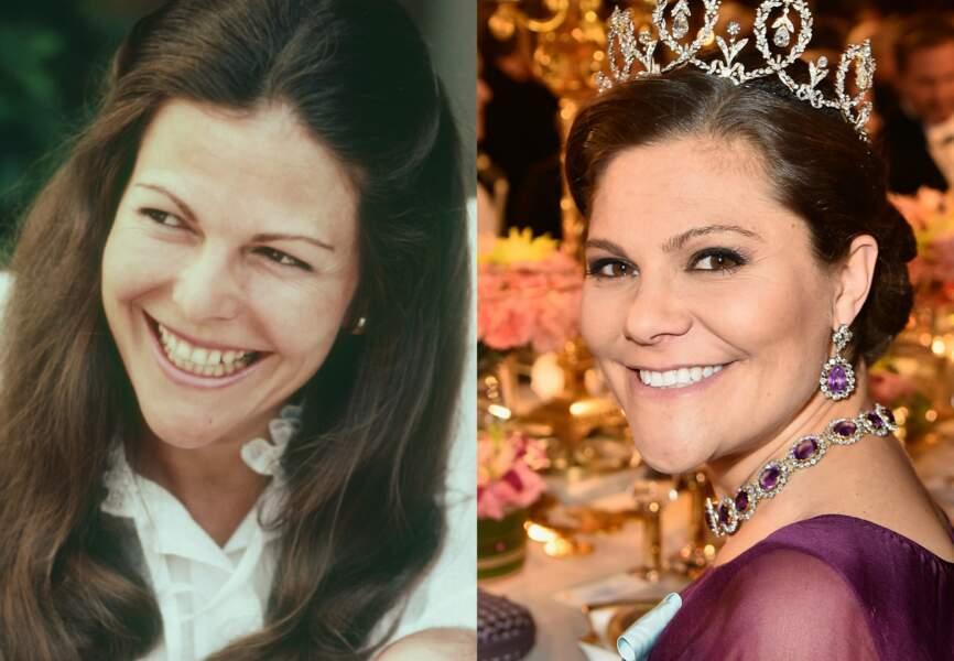 A gauche la reine Sofia de Suède, à droite sa fille, Victoria. troublant non?