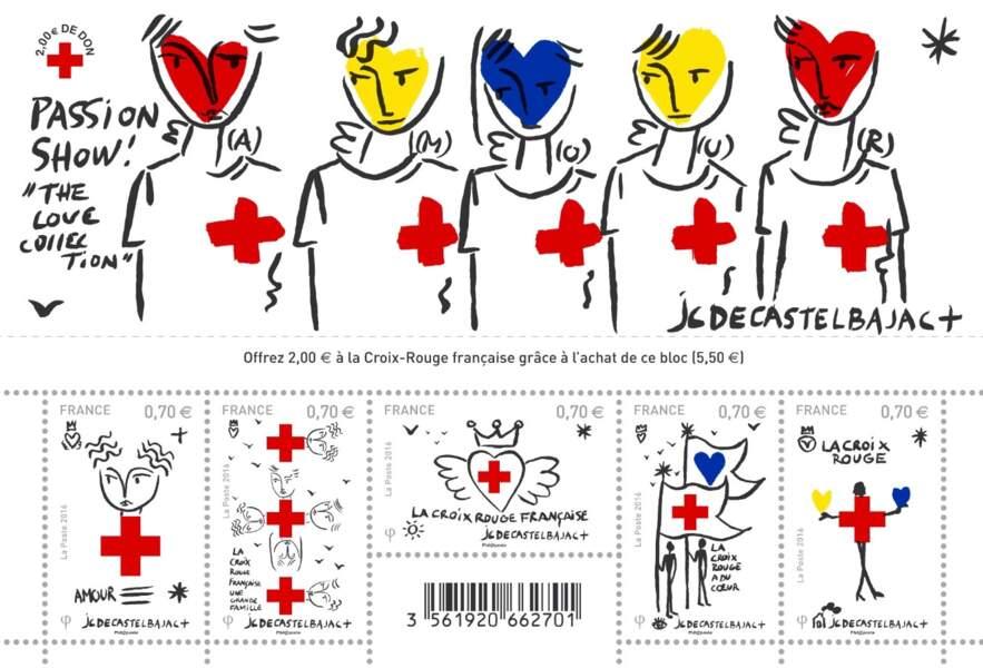 Bloc de 5 timbres, 5,50 € (Jean-Charles de Castelbajac pour La Croix Rouge dans les bureaux de Poste).