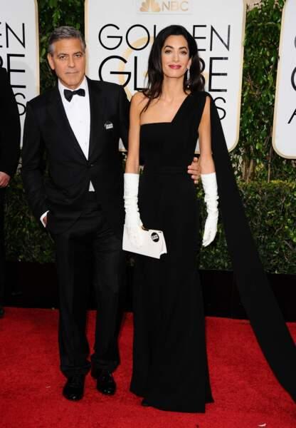 L'acteur et son épouse optent pour des tenues bicolores noires et blanches