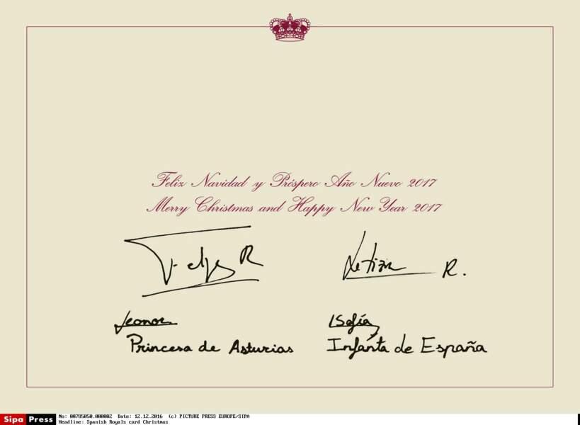Les petites princesses espagnoles ont égalément signé la carte de voeux
