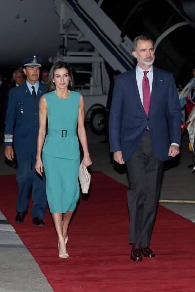 Le roi Felipe VI et Letizia d'Espagne sublime en robe verte Hugo Boss à Buenos Aires  le 25 mars 2019.