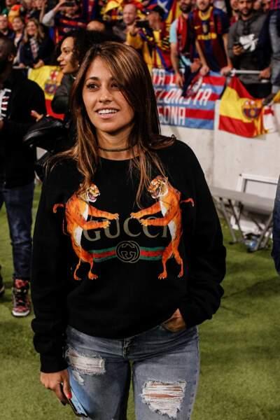 Antonella Roccuzzo à Madrid le 21 avril 2018.