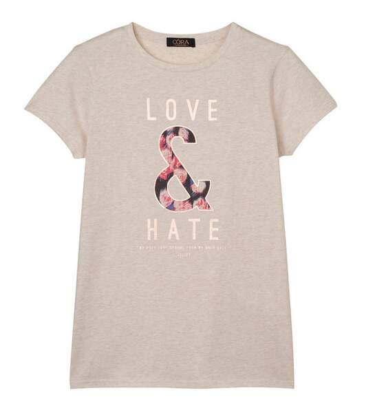 T-shirt Love & Hate écru chiné, Oôra, 17,99€