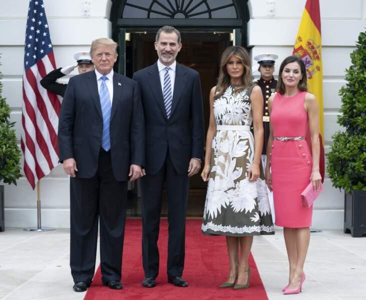 Le clin d'oeil mode de Letizia d'Espagne à Melania Trump