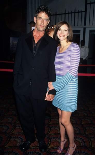 """Avec Rupert Everett à la première du film """"Le Mariage de mon Meilleur Ami"""" en 1997"""