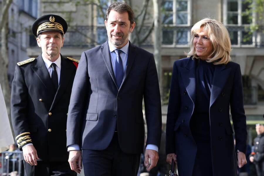 Christophe Castaner et Brigitte Macron arrive à l'église parisienne de Saint-Sulpice
