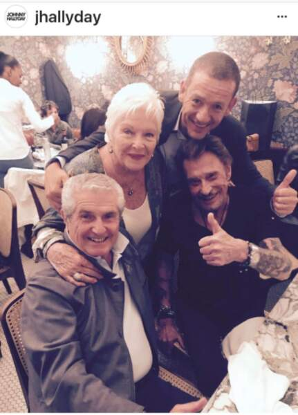 Johnny Hallyday, Line Renaud, Claude Lelouch et Dany Boon