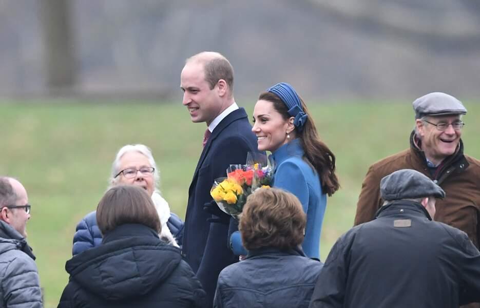 Le headband Jane Taylor porté par Kate Middleton à Sandringham, le 6 janvier 2019