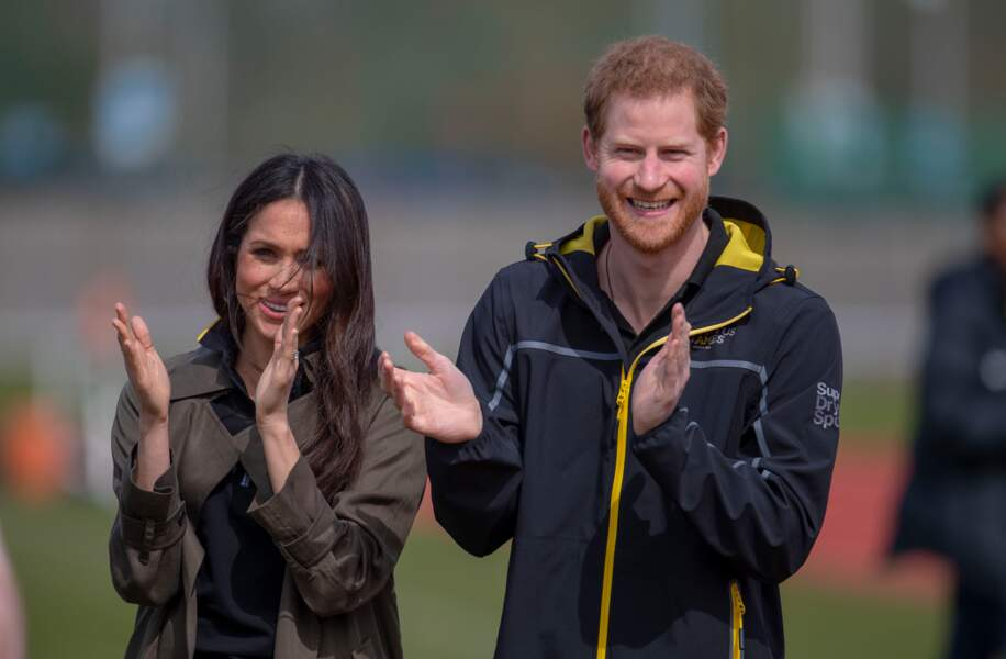 Meghan Markle et le prince Harry lors des Invictus Games à l'université de Bath le 6 avril 2018.