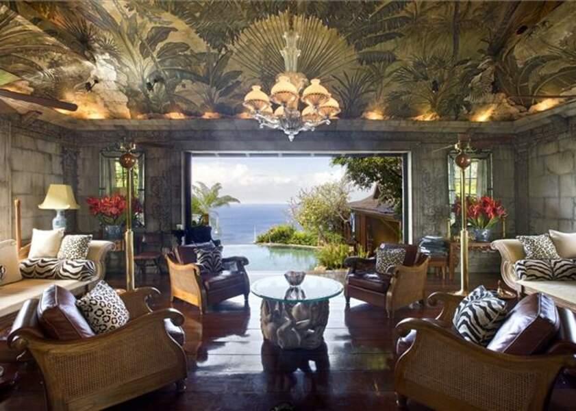 L'un des 5 salons de la villa de David Bowie à l'île Moustique