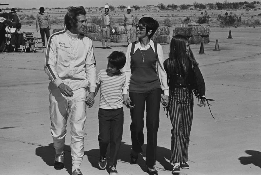 Steve McQueen en famille sur le tournage de Le Mans