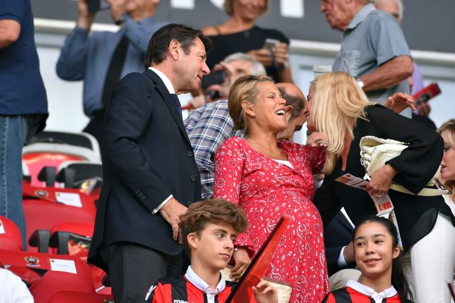 Laura tenoudji et Christian Estrosi ont été aperçus au stade de l'Allianz Riviera à Nice le 26 juillet 2017