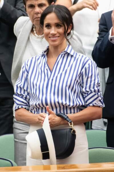 Meghan Markle, lors de la finale de Wimbledon entre Serena Williams et Angelique Kerber, le 14 juillet 2018