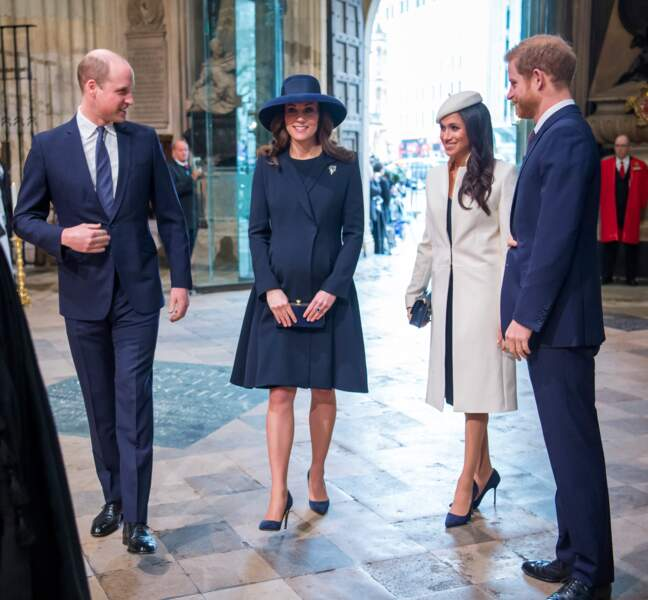 Le prince William, le prince Harry, Kate Middleton et Meghan Markle se retrouvent lors de la cérémonie du Commonwealth en l'abbaye Westminster à Londres, le 12 mars 2018.