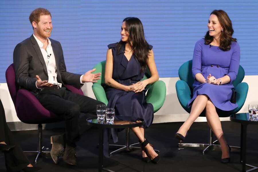 Harry, Meghan et Kate Middleton lors du premier forum annuel de la Fondation Royale à Londres le 28 février 2018