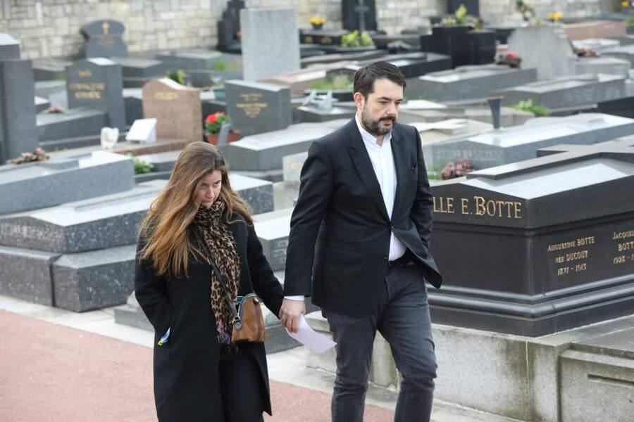 Jean-François Piège et sa femme Elodie lors des obsèques de Véronique Colucci