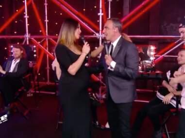 PHOTOS - Karine Ferri surprend le public très enceinte hier soir dans The Voice
