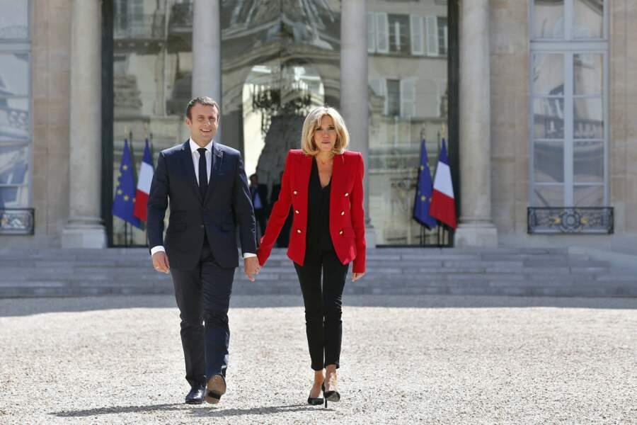 Brigitte Macron et Emmanuel Macron lors du lancement de la concertation autour du 4ème plan autisme