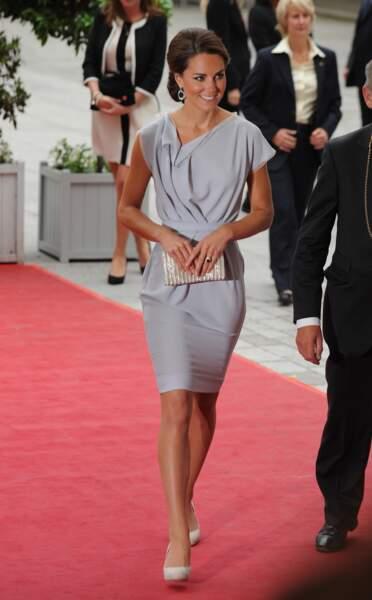 """Kate Middleton sur le tapis rouge de la soirée """"UK Creative Industries"""" à Londres, le 30 juillet 2012"""