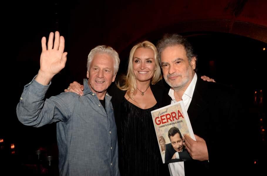 Gérard Lenorman, Christelle Bardet et Raphaël Mezrahi pour la soirée de lancement du livre de Laurent Gerra