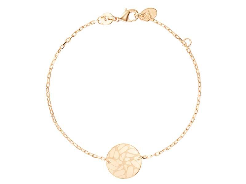 Bracelet Nature sur chaîne personnalisé, gravé mains, Merci Maman Paris, 69 €