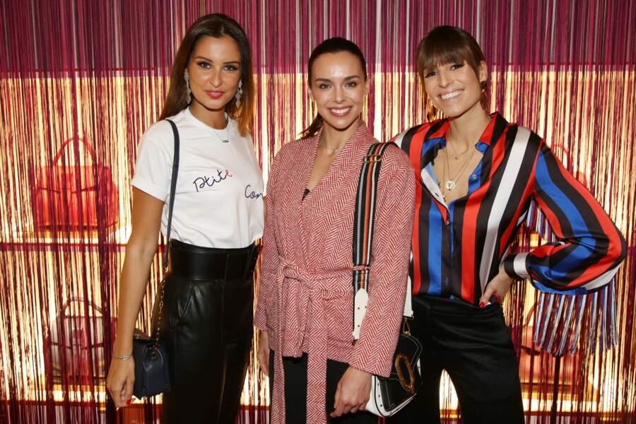 Malika Ménard, Marine Lorphelin et Laury Thilleman chez Lancel, lors de la Paris Fashion Week, le 27 février 2019.