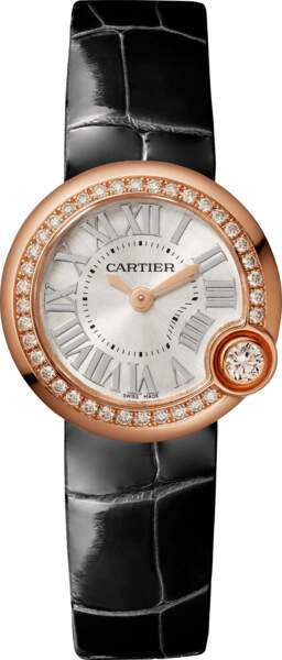 Montre Ballon Blanc en or rose, diamants et cuir, 12 000 €, Cartier.