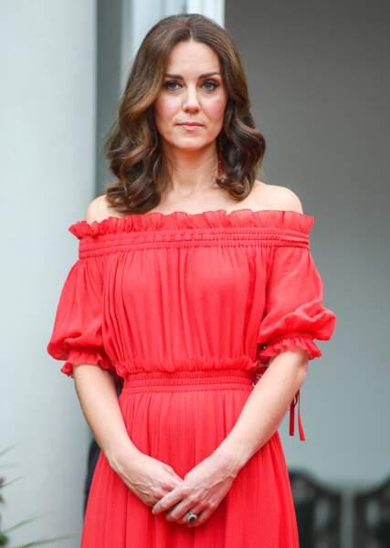 Kate Middleton dans les jardins de l'ambassade britannique à Berlin, le 19 juillet 2017