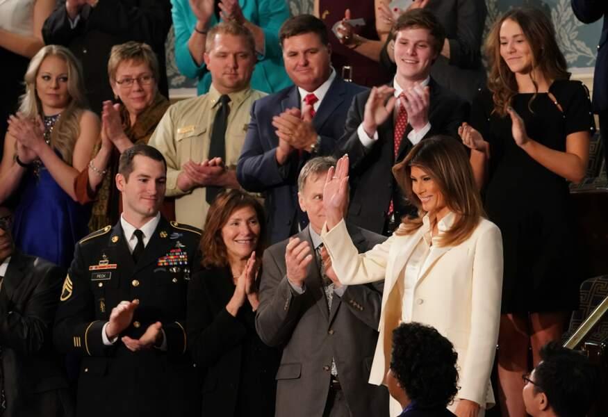 Malgré les rumeurs de crise conjugale, la First lady soutenait le discours sur l'état de l'Union de son époux.